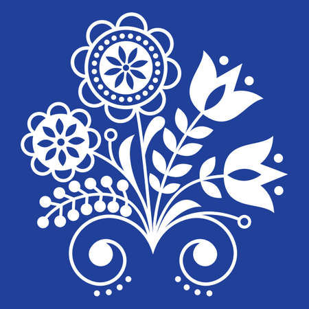 Scandinavian folk art ornament with flowers, Nordic floral design, retro background in white on navy bluye