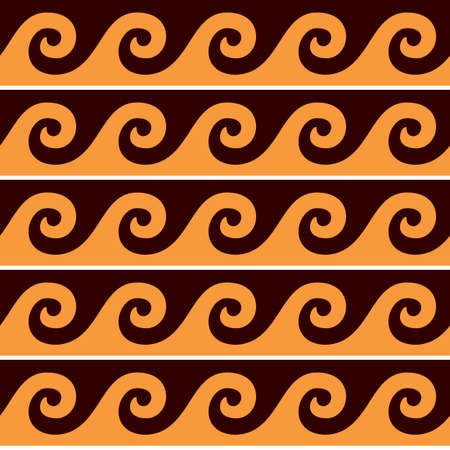 Greek pattern vector seamless design with waves in brown and orange, traditional ancient vase decoration