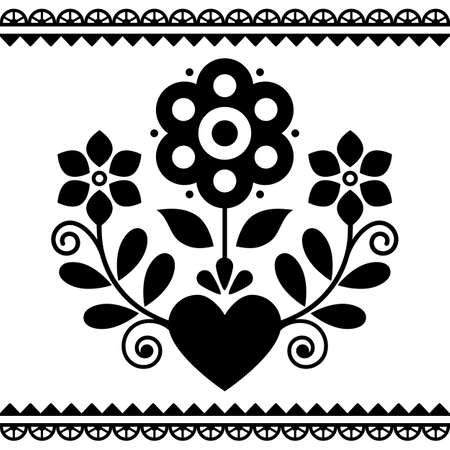 Polish folk art vector black and white design with flowers and heart perfect for Valentine's Day greeting card or wedding invitation