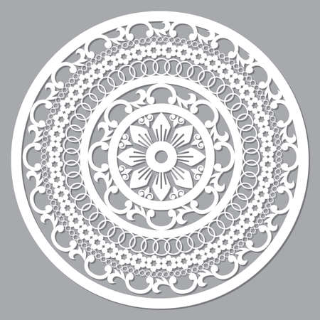 Traditional carverd Moroccan mandala vector design, boho arabic pattern with flowers, leaves and swirls