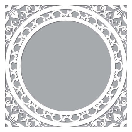 Traditional Morocan carved frame or border vector design - arabic pattern with flowers, leaves and swirls perfect for greeting card or wedding invitation Ilustração