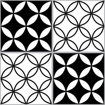 Moroccan and Turkish geoemetic tile seamless vector design, black and white abstract textile or fabric print pattern