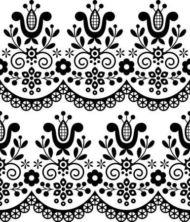 Retro Polish folk art vector seamless textile or fabric print pattern, black and white floral decorative folk art embroidery Lachy Sadeckie