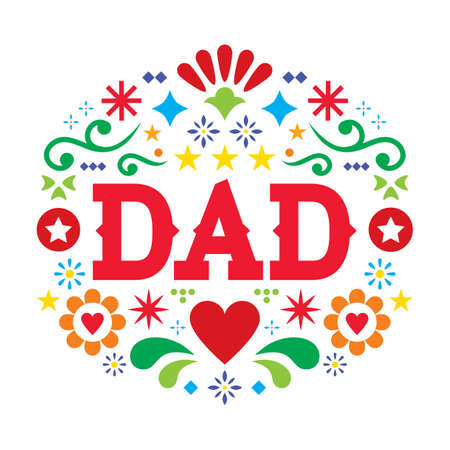 Father's Day vector greeting card, Mexican folk art dad pattern with flowers, hearts and abstract shapes