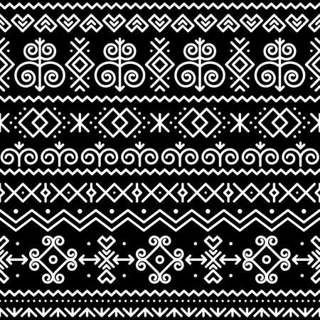 Slovak folk art vector seamless pattern with abstract geometric shapes inspired by traditional house paintings from village Cicmany in Zilina region, Slovakia