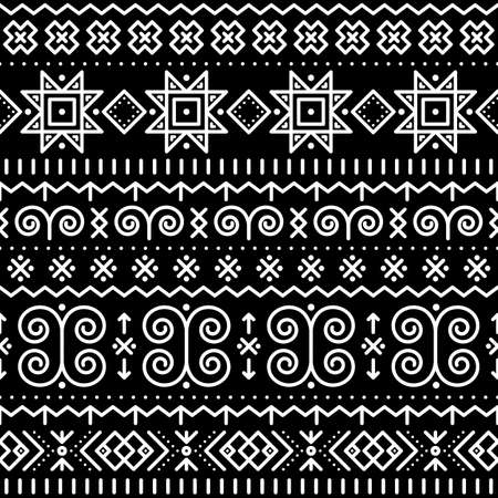 Slovak folk art vector seamless geometric pattern with swirls, zig-zag shapes inspired by traditional painted art from village Cicmany in Zilina region, Slovakia