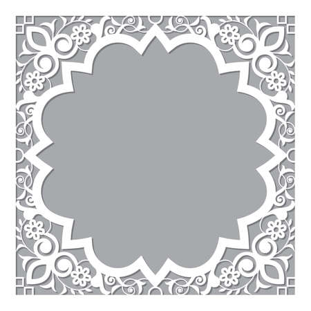 Moroccan carved style openwork vector frame or border design with corners - perfect for greeting card or wedding invitation in white and gray
