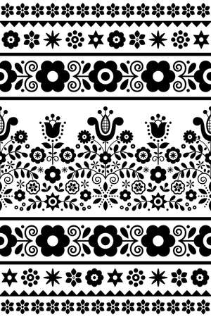 Polish traditional folk art vector seamless textile or fabric print pattern with flowers, hearts and leaves - Lachy Sadeckie in black and white Ilustração