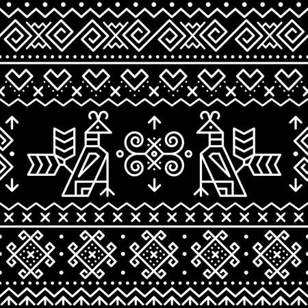 Slovak traditional folk art vector seamless geometric pattern with brids swirls, zig-zag shapes inspired by traditional painted art from village Cicmany in Zilina region, Slovakia Ilustração