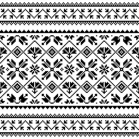 Ukrainian and Belarusian Slavic folk art vector seamless pattern or print, traditional embroidery design Ilustração