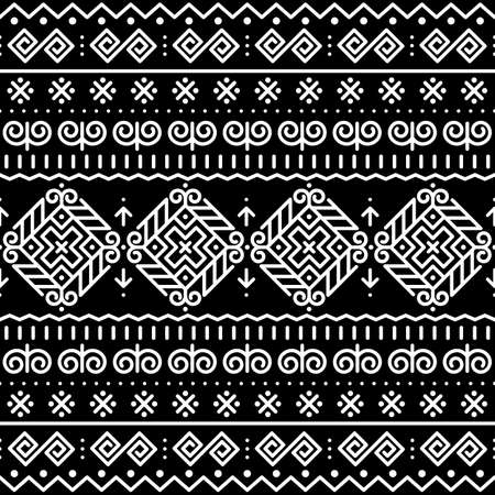 Slovak folk art vector seamless pattern with ethnic, tribal geometric shapes - inspired by traditional painted art from village Cicmany in Zilina region, Slovakia