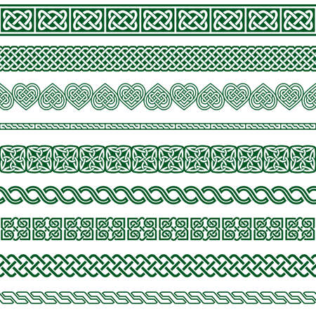 Irish Celtic vector seamless vector pattern set, border and frame collection, green braided ornaments for greeting cards, St Patrick's Day celebration Ilustração