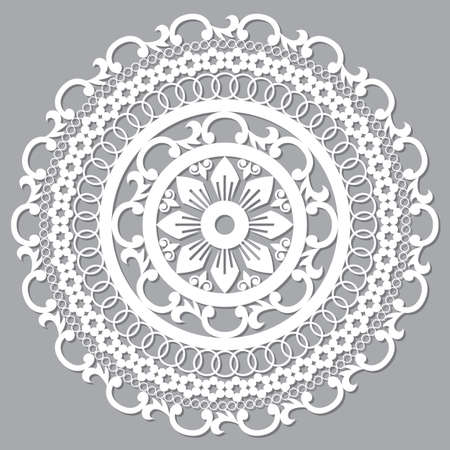 Moroccan openwork mandala vector design, boho arabic pattern with flowers, leaves and swirls Ilustração