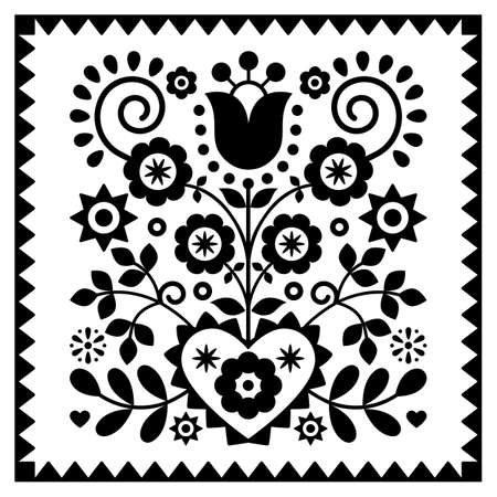 Floral monochrome folk art vector design in square frame from Nowy Sacz in Poland inspired by traditional highlanders embroidery Lachy Sadeckie Ilustração