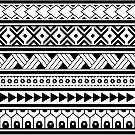 Polynesian ethnic Maori geometric seamless vector pattern, cool Hawaiian tribal fabric print or textile design in black and white