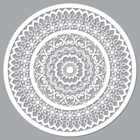 Openwork mandala vector mandala styled as Moroccan wood panels, round arabic pattern in white on gray background