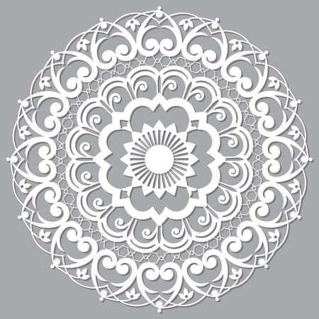 Moroccan Moorish  vector mandala, openwork arabic pattern with shadow in white on gray background