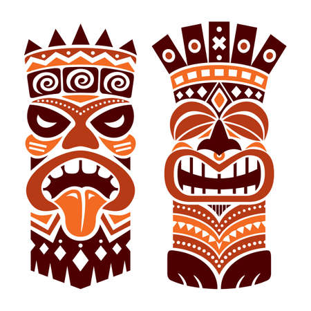 Tiki statue pole totem vector design - traditional decor set from Polynesia and Hawaii, tribal folk art background in brown