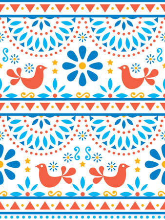 Mexican folk art vector seamless pattern with birds and flowers, textile or fabric print design inspired by traditional art form Mexico Ilustração