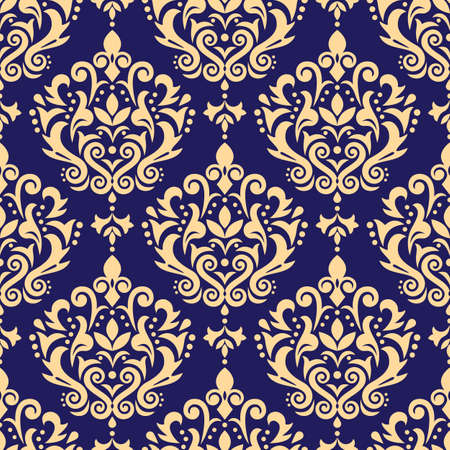 Damask vector seamless pattern, victoraian textile or fabric print design with swirls and leaves, arabic retro background