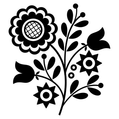 Slavic embroidery folk art vector design - Lachy Sadeckie black and white pattern inspired by Polish old floral decorations