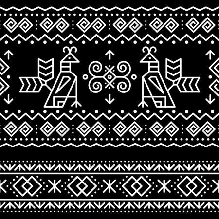 Slovak tribal folk art vector seamless geometric two patterns with brids swirls, zig-zag shapes inspired by traditional painted art from village Cicmany in Zilina region, Slovakia Ilustração