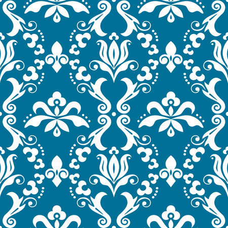 Damask elegant vector seamless pattern, victorian textile or fabric print design with flowers, swirls and leaves in white on turquoise