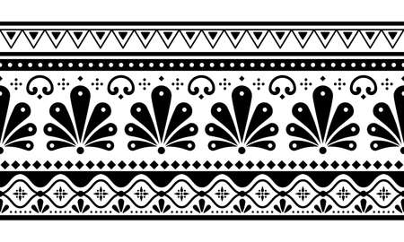 Talavera Poblana vector seamless long horizontal black and white pattern inspired by traditional Mexican decorated pottery and ceramics