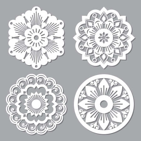 Moroccan retro vector mandala design collections, four openwork vector detailed arabic patterns with flowers, leaves and swirls Ilustração