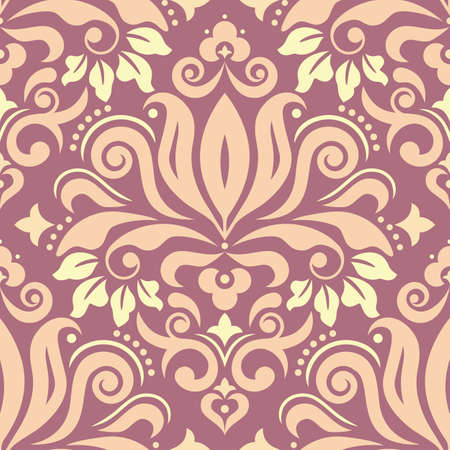 Royal Damask wallpaper of fabric print pattern, retro textile vector design with flowers, leaves and swirls Vettoriali