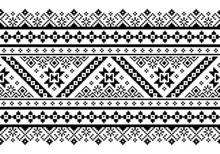 Ukrainian, Belarusian folk art vector seamless pattern, retro monochrome long cross-stitch ornament inpired by folk art - Vyshyvanka