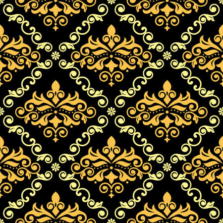 Luxury arabic Damask wallpaper or fabric print pattern, retro textile vector seamless design with flowers, leaves and swirls