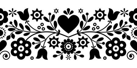 Retro Polish floral folk art vector greeting card or seamless black pattern inspired by old highlanders embroidery Lachy Sadeckie from Nowy Sacz in Poland
