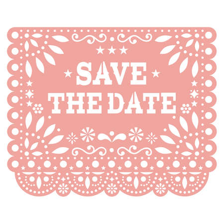 Save the date Papel Picado vector party banner design, Mexican cut out paper decoration with flowers, stars, and geometric shapes
