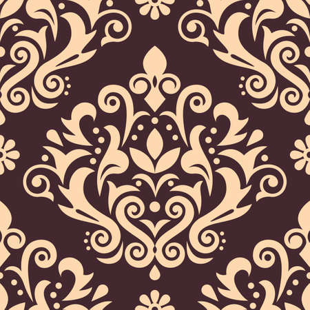 Damask luxury vector seamless pattern, victorian navy blue textile or fabric print design with flowers, swirls and leaves Ilustração