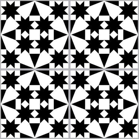 Moroccan and Turkish geoemetic tile seamless vector pattern, black and white textile design with stars and abstract shapes Ilustração
