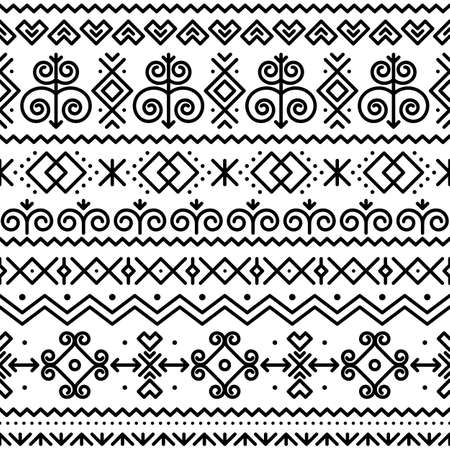Slovak folk art vector seamless black pattern with abstract geometric shapes inspired by traditional house paintings from village Cicmany in Zilina region, Slovakia Ilustração