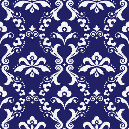 Damask  vector seamless textile or farbic print pattern, old victorian repetitive design with flowers, swirls and leaves in white on navy blue