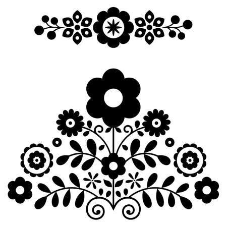 Polish folk art vector design elements in black and white inspired by floral embroidery Lachy Sadeckie from Nowy Sacz in Poland
