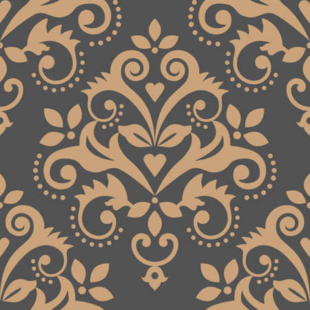 Damask tiled wallpaper, textile or fabric print pattern, traditional vector design with flowers, leaves and swirls