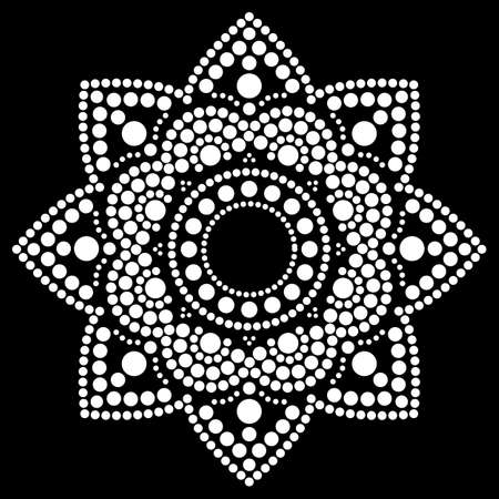 Dot painting vector ethnic mandala, traditional Aboriginal dot painting design, ethnic floral decoration from Australia in white on black background