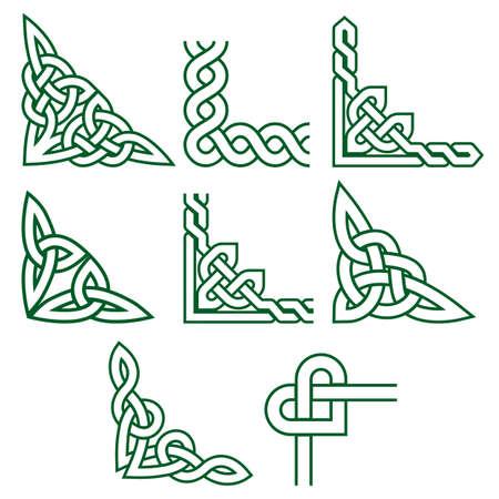 Celtic green corners vector design set, Irish detailed braided frame patterns - greeting card and invititon design elements Ilustração