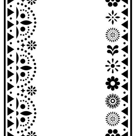 Mexican happy vector greeting card or invitation design, black and white pattern with flowers and geometric shapes