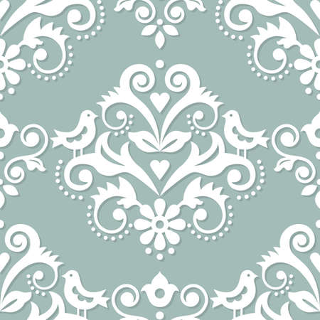 Damask tiled textile or fabric print vector pattern with flowers, birds and swirls, elegant repetitive design