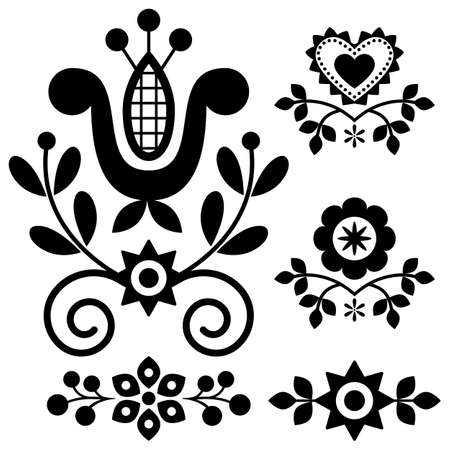 Floral folk art vector design elements inspired by traditional highlanders embroidery Lachy Sadeckie from Nowy Sacz in Poland in black and white Ilustração