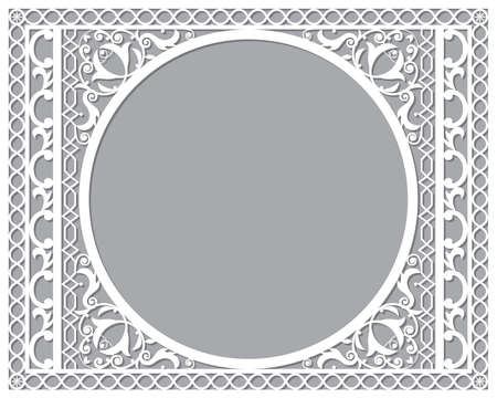 Moroccan vector openwork recatangle frame or border design in DL format, inspired by the old carved wood wall art patterns from Morocco Ilustração