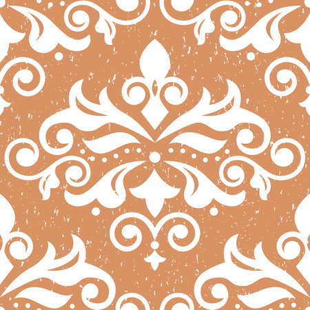 Retro arabic Damask wallpaper or fabric print pattern on vintage scratched background, textile vector seamless design with flowers, leaves and swirls Ilustração