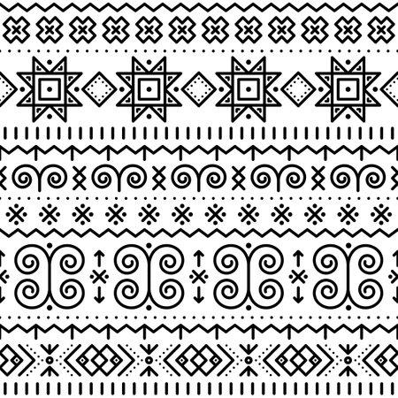 Slovak folk art vector seamless geometric black pattern on white with swirls, zig-zag shapes inspired by traditional painted art from village Cicmany in Zilina region, Slovakia Ilustração