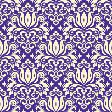 CLassic Damask wallpaper or fabric print vector seamless pattern, retro textile design with floral motif on purple background