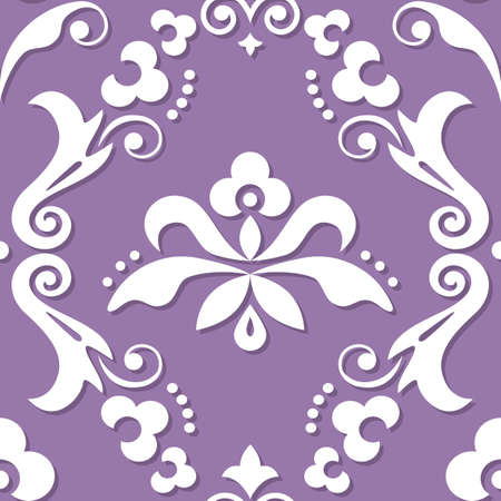 Damask royal vector seamless textile or farbic print pattern, classic victorian repetitive design with flowers, swirls and leaves in white on purple